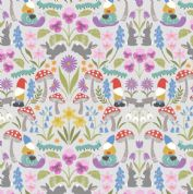 Lewis & Irene - Jolly Spring - 6349 - Garden Gnomes & Flowers on Pale Grey - A341.1 - Cotton Fabric